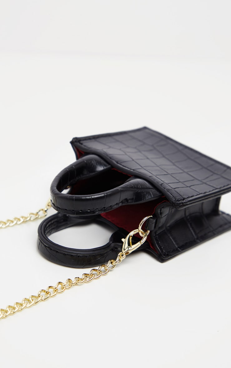Black Croc Micro Mini Chain Bag 2