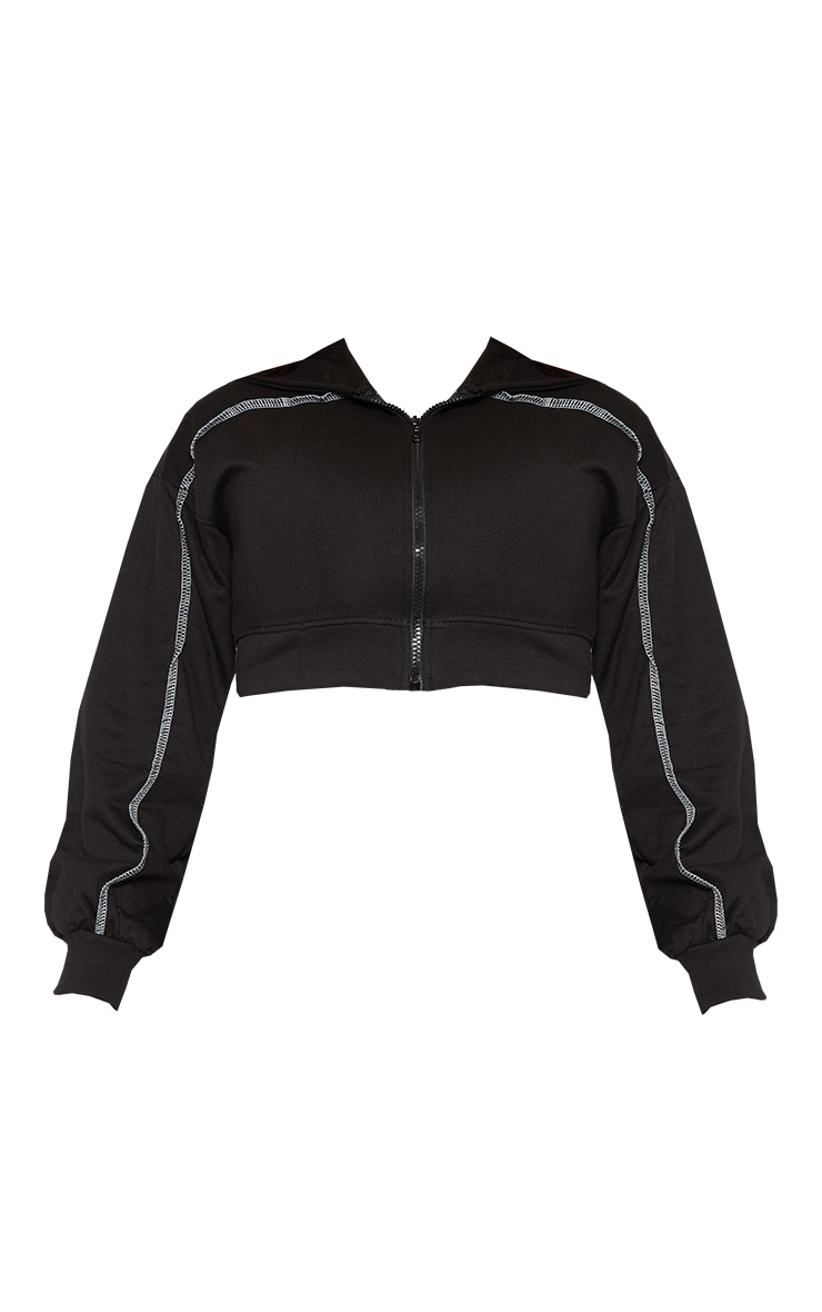 PRETTYLITTLETHING Shape Black Contrast Stitch Zip Front Cropped Hoodie 5