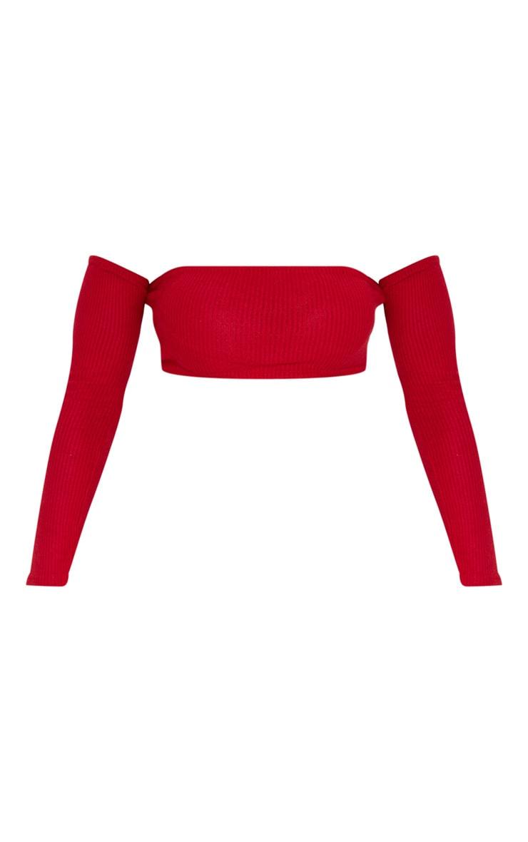 Scarlet Brushed Rib Bandeau Long Sleeve Crop Top 3