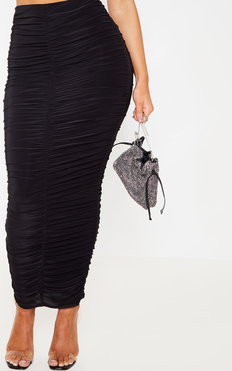 Black Slinky Ruched Detail Midaxi Skirt 5