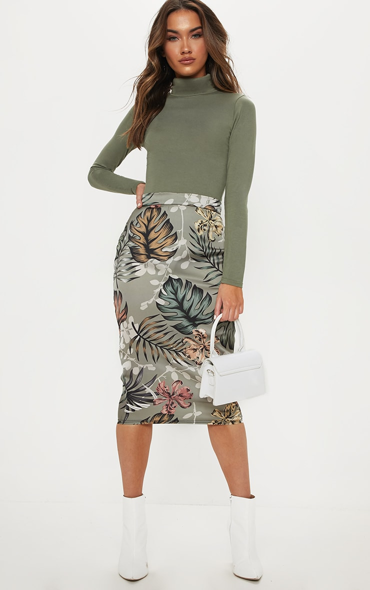 Sage Green Floral Print Satin Pencil Skirt 1