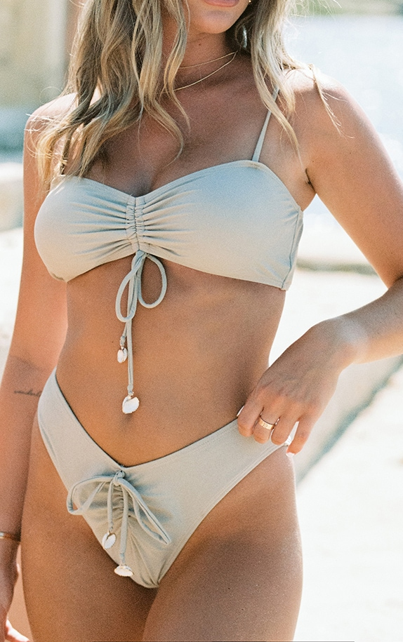 Sand Ruched Front Shell Trim Bikini Bottoms 4