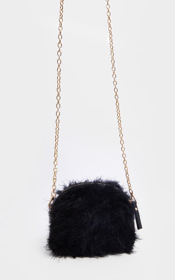 Black Marabou Cross Body Bag 3