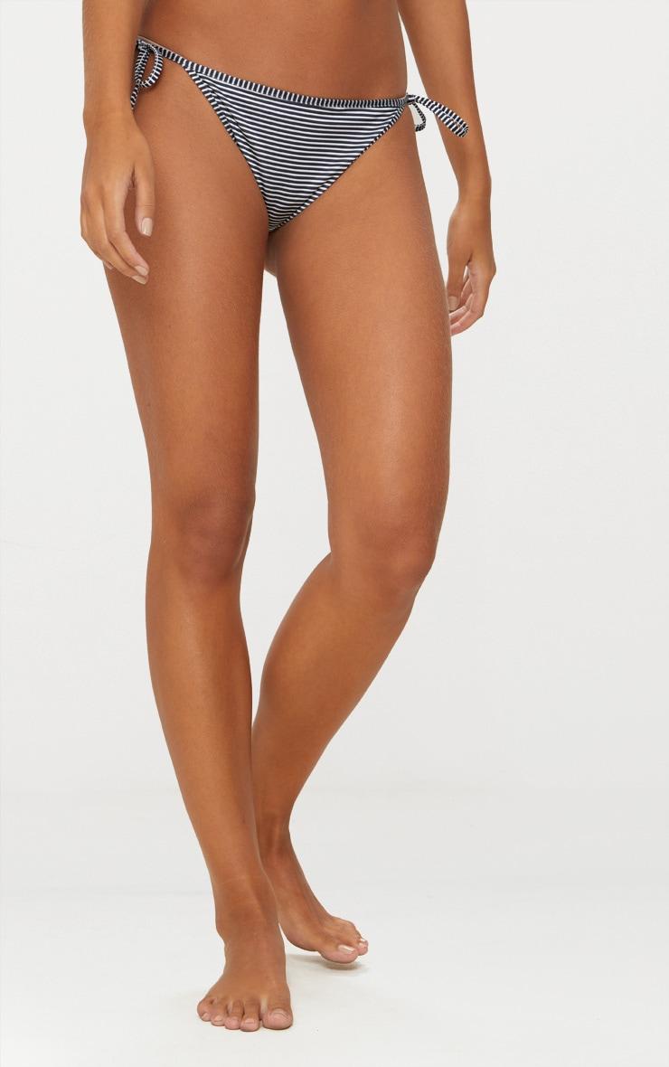 Black Striped Tie Side Bikini Bottom 2