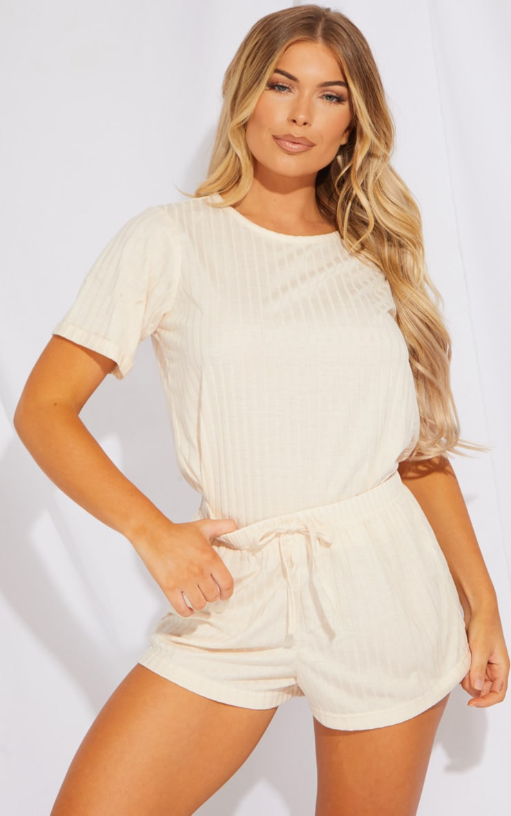 Cream Short Sleeve Top And Shorts 1