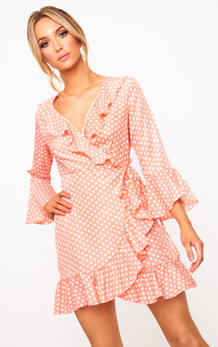 Pink Polkadot Frill Wrap Dress  1