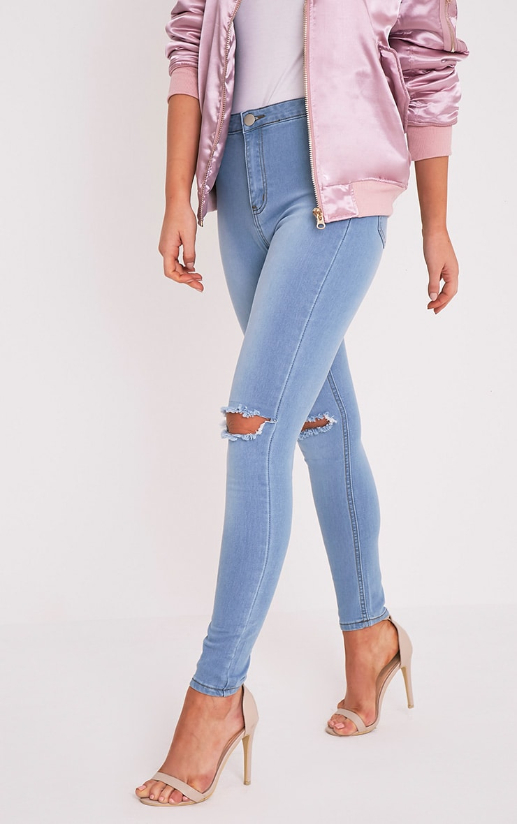 Kylie jean skinny taille haute déchiré aux genoux délavage léger 2