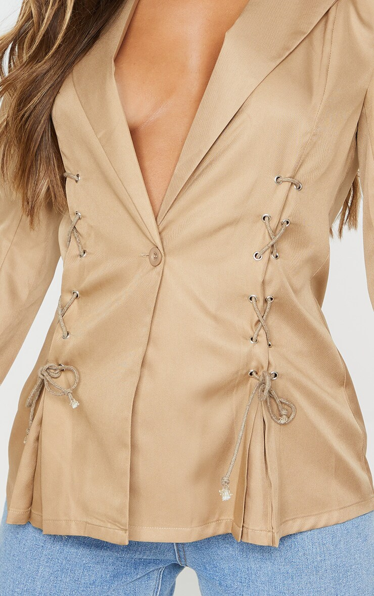 Camel Woven Lace Up Detail Blazer 5