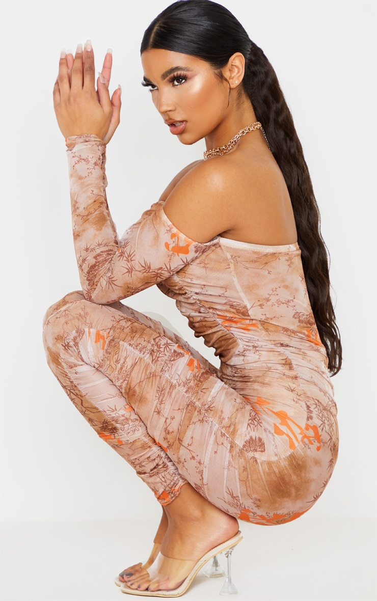 Nude Oriental Print Mesh Ruched Jumpsuit 5