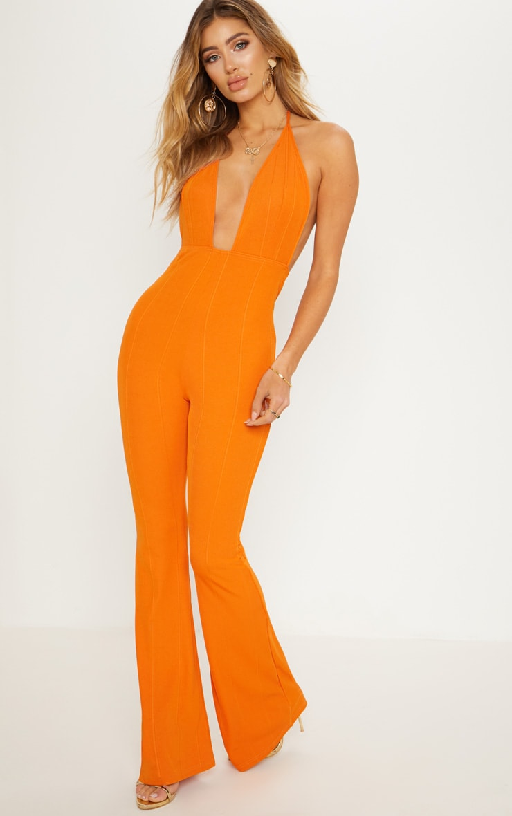 Orange Bandage Plunge Flared Leg Jumpsuit 2