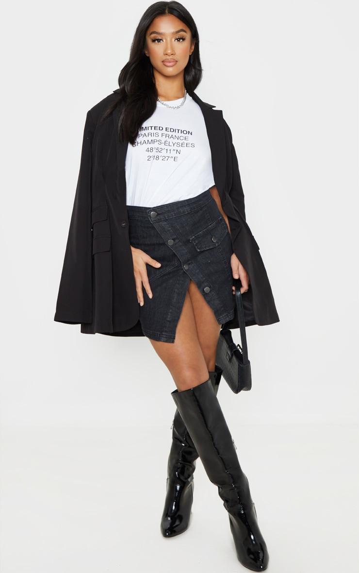 Petite Washed Black Reworked Denim Skirt 5