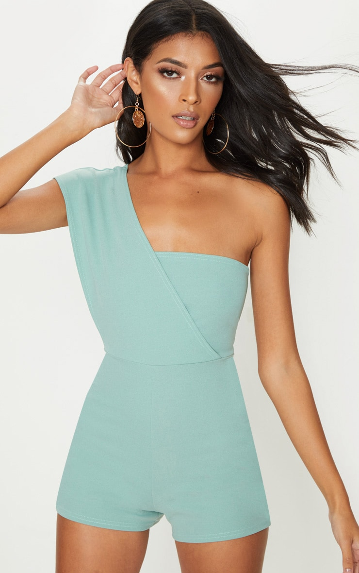 Mint Drape One Shoulder Playsuit 4