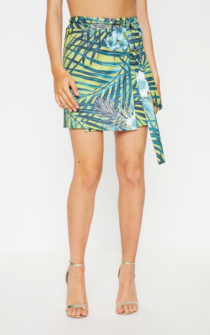 Lime Tropical Printed Tie Waist Skater Skirt  2
