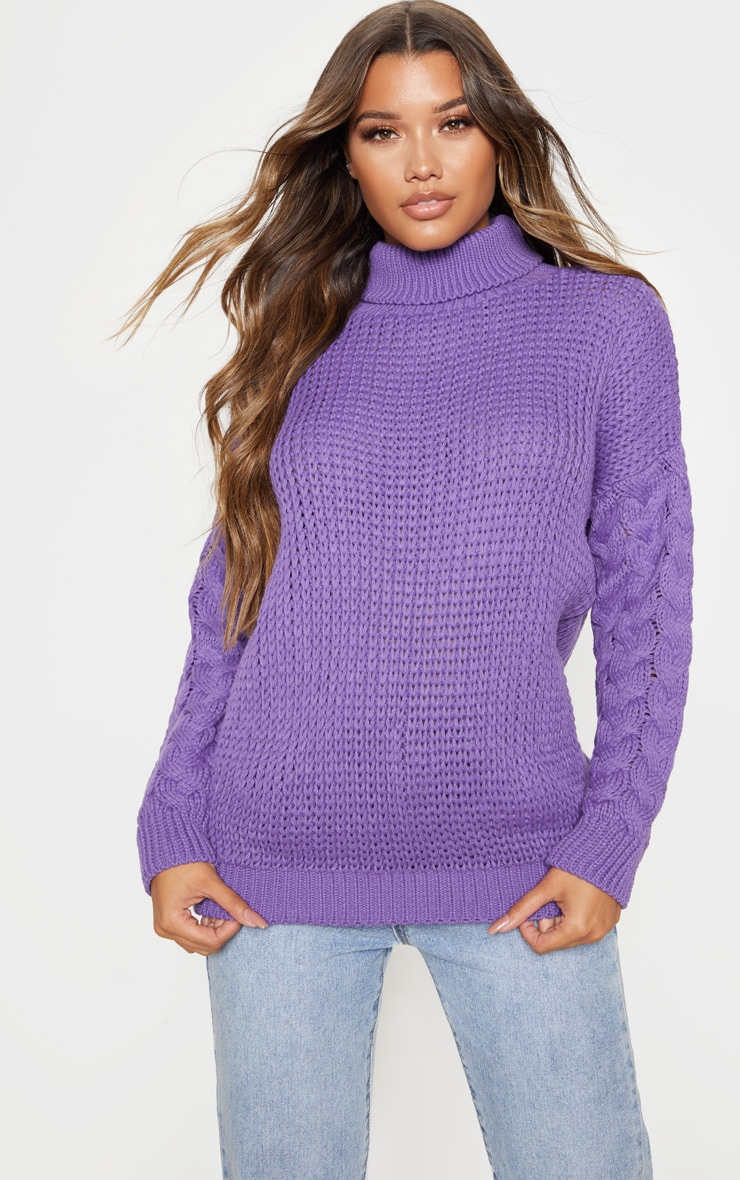 Violet Chunky Knitted Cable Sleeve Jumper  4