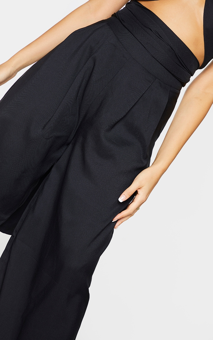 Black Woven Pleated Front Wide Leg Pants 4