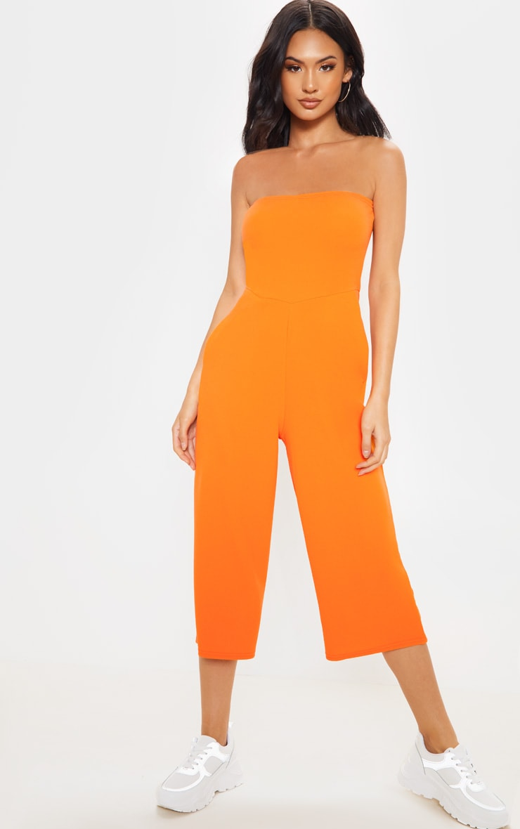 Orange Bandeau Culotte Jumpsuit 1