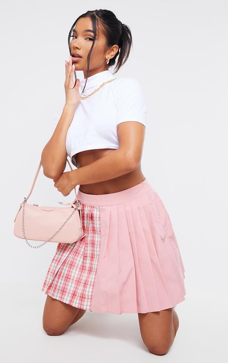 Pink Check Woven Pleated Skater Skirt