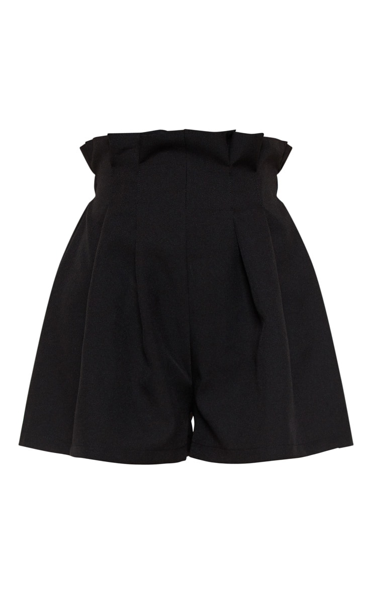 Black Woven Pleat Front Short 3