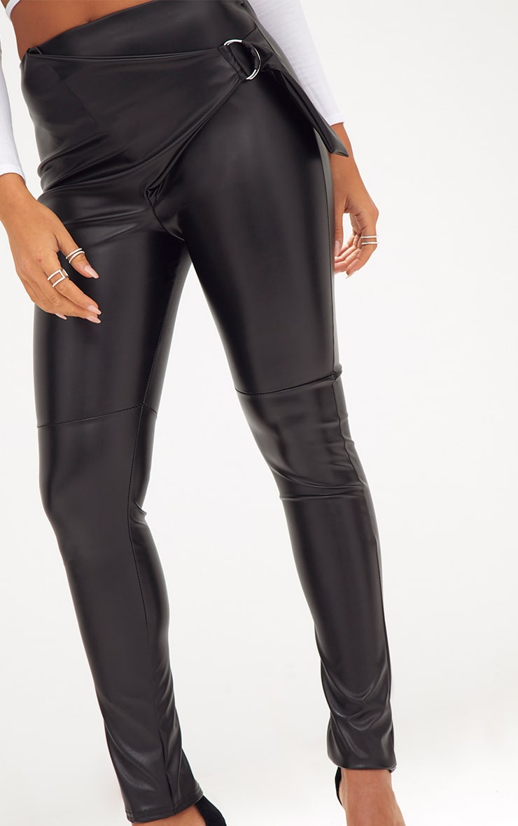 Black Faux Leather D Ring Wrap Trousers 5