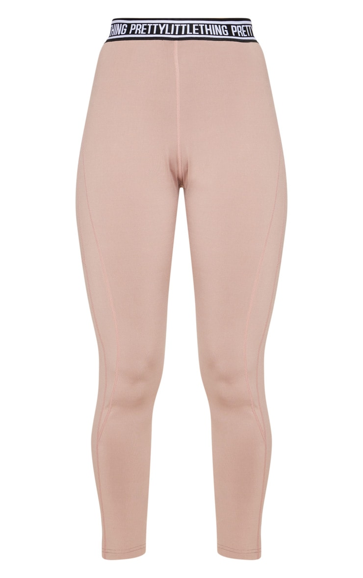 PRETTYLITTLETHING Taupe Contrast Stitch Sports Leggings 3