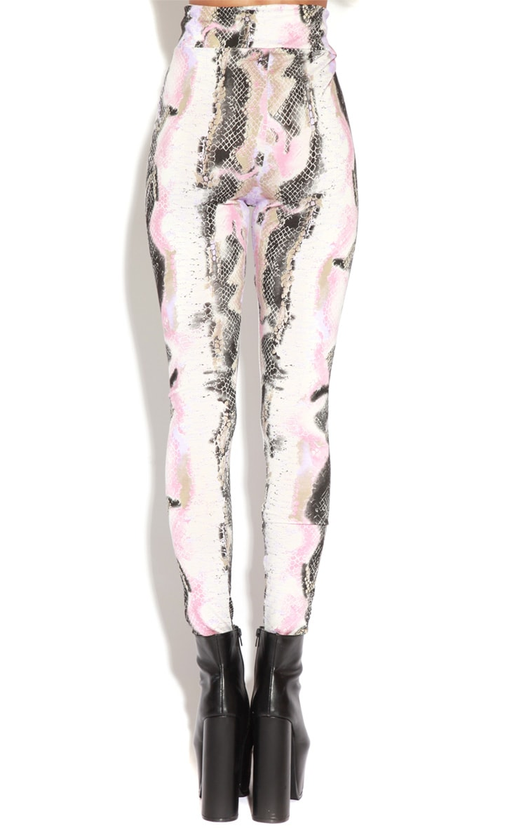Irsa Pink And Purple Snakeskin Print Leggings 4