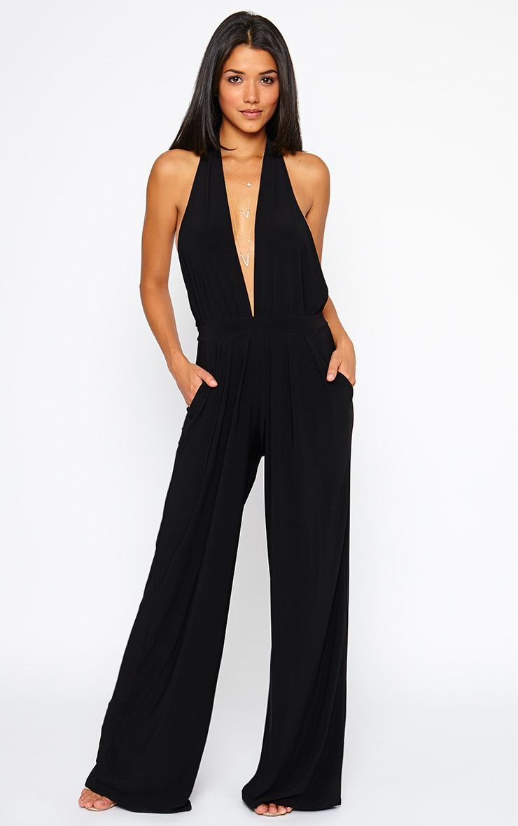Vicki Black Halter Neck Jumpsuit 1
