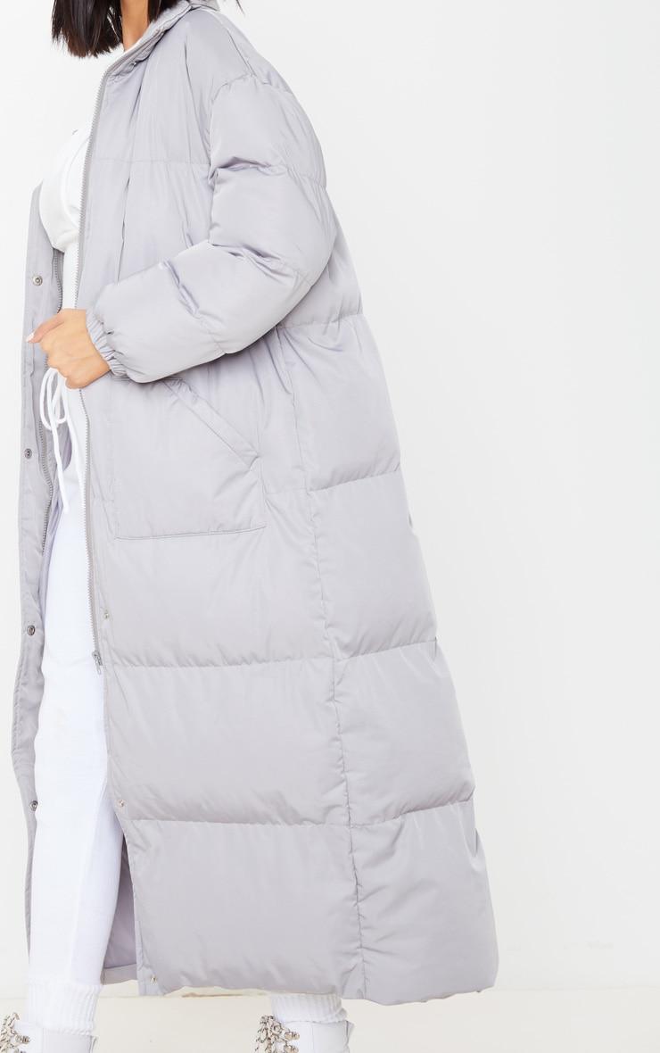 Light Grey Maxi Puffer Coat 5