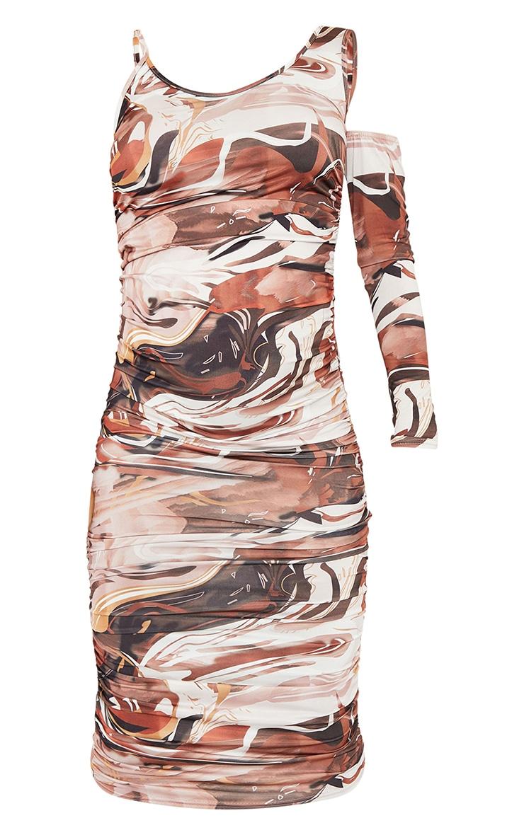 Maternity Chocolate One Sleeve Abstract Print Midi Dress 5