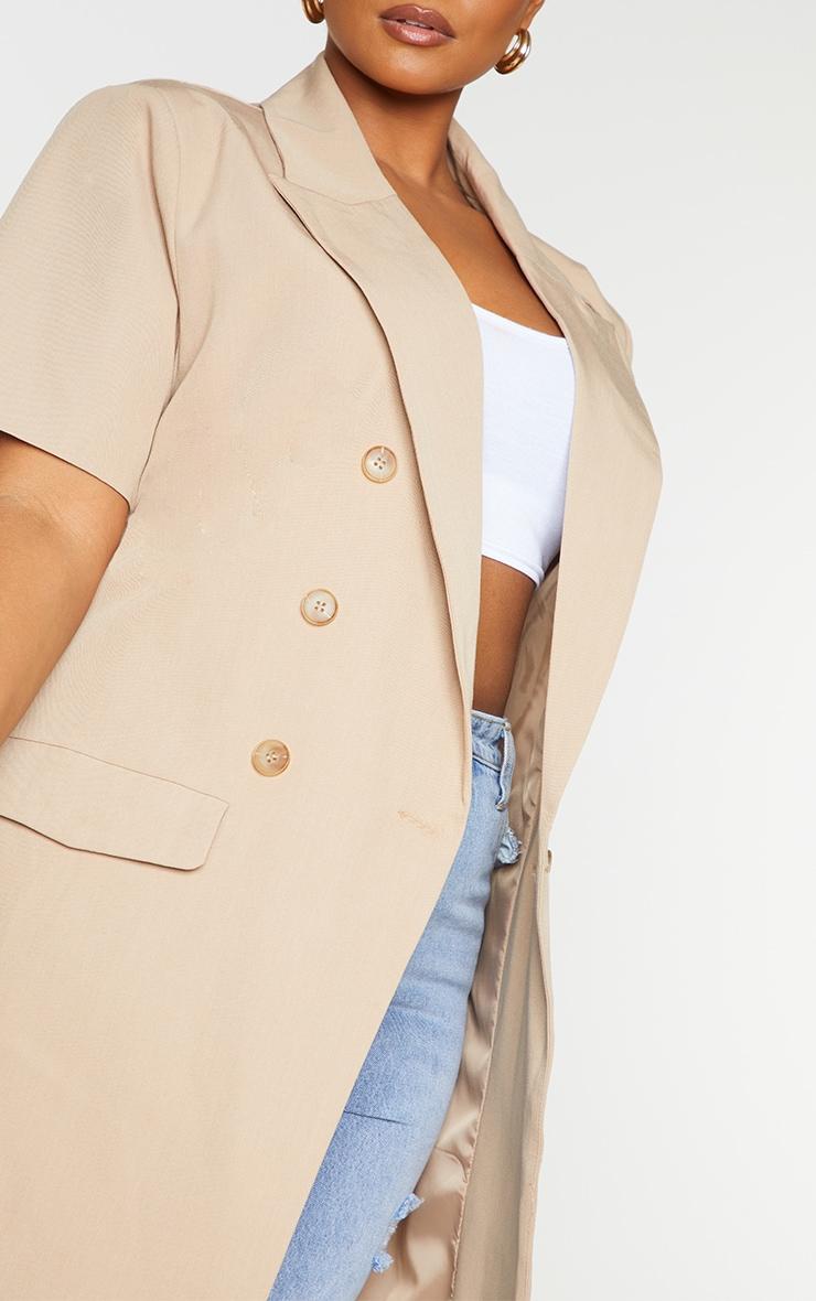 Plus Cream Woven Short Sleeve Longline Belted Blazer 4