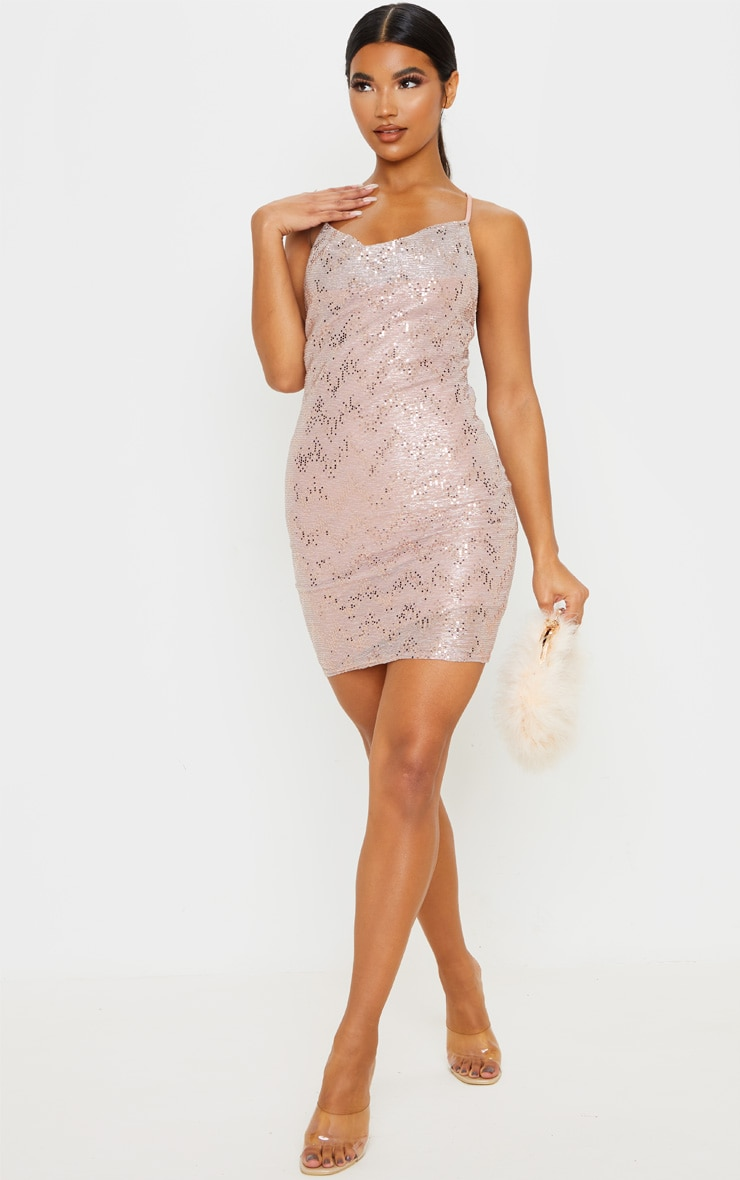 Dusty Pink Glitter Sequin Detail Strappy Cowl Neck Bodycon Dress 1