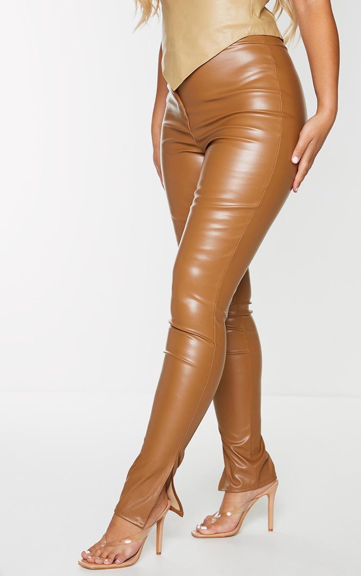Tan Faux Leather Split Hem Skinny Trousers 2