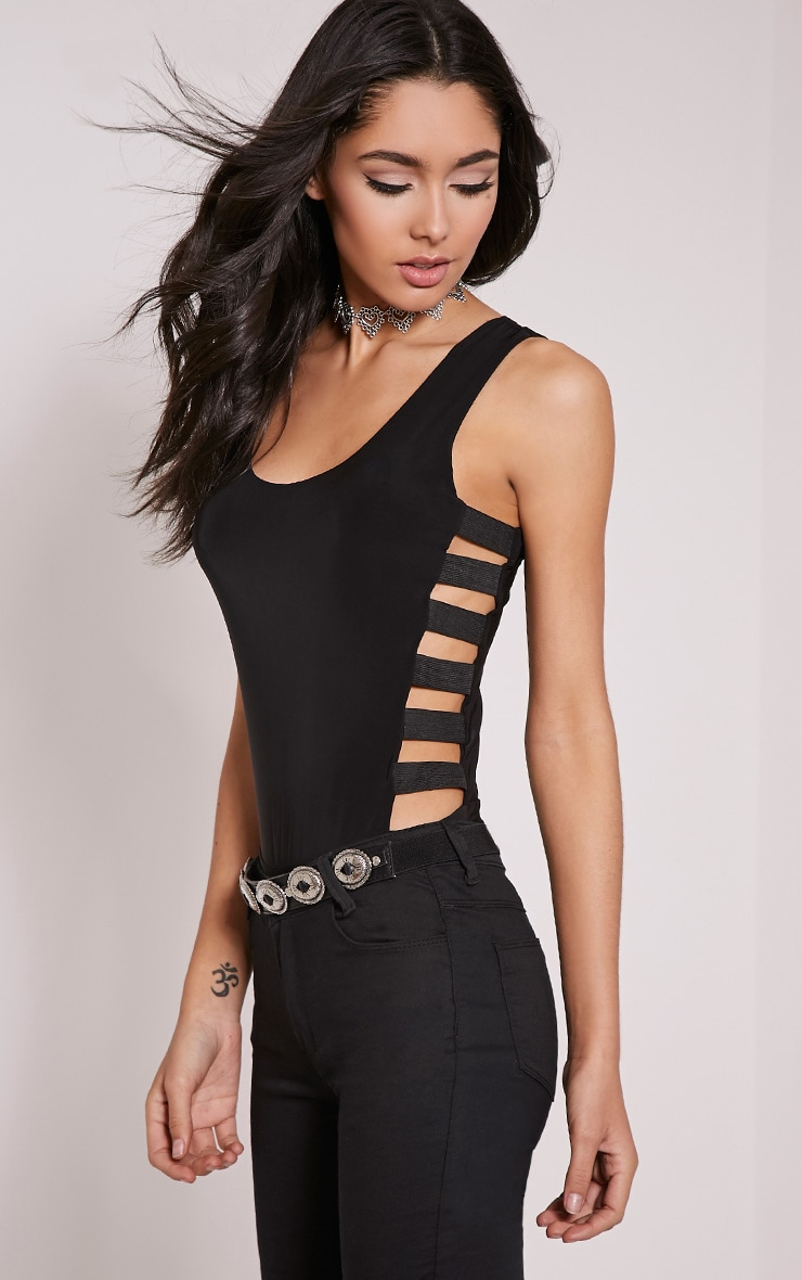 Reena Black Elastic Side Round Neck Bodysuit 1