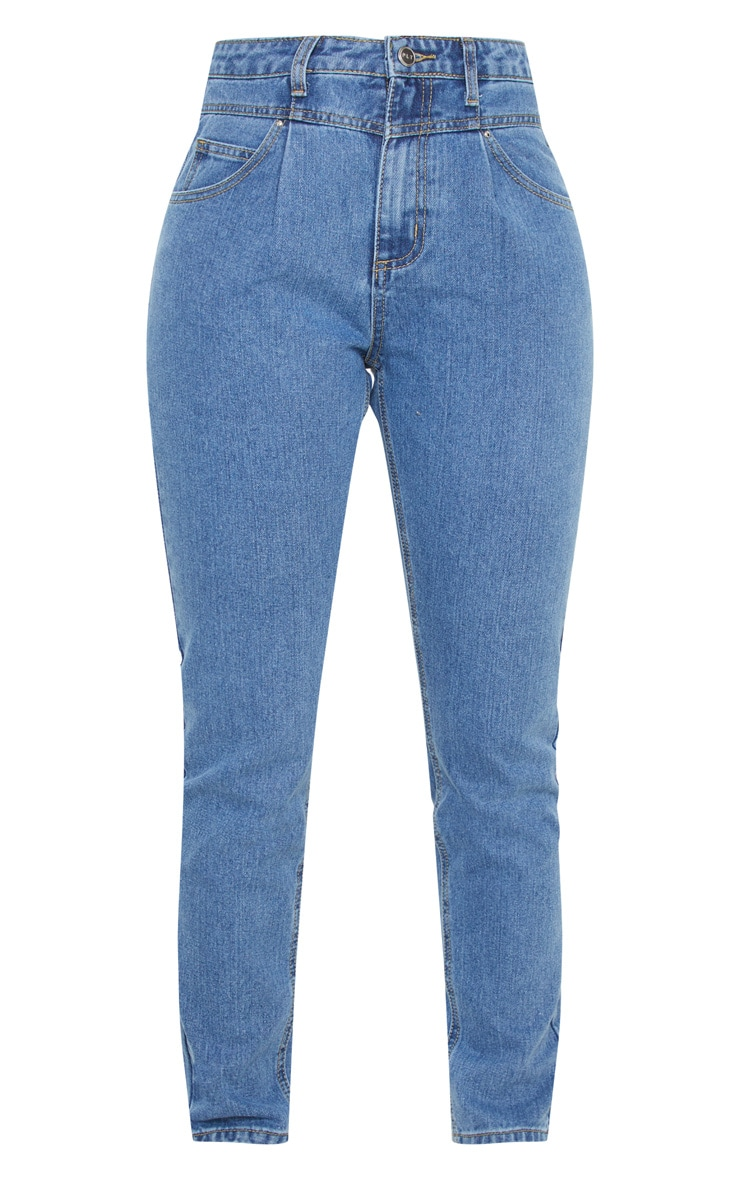 Mid Wash Seam Front Straight Leg Jeans  3