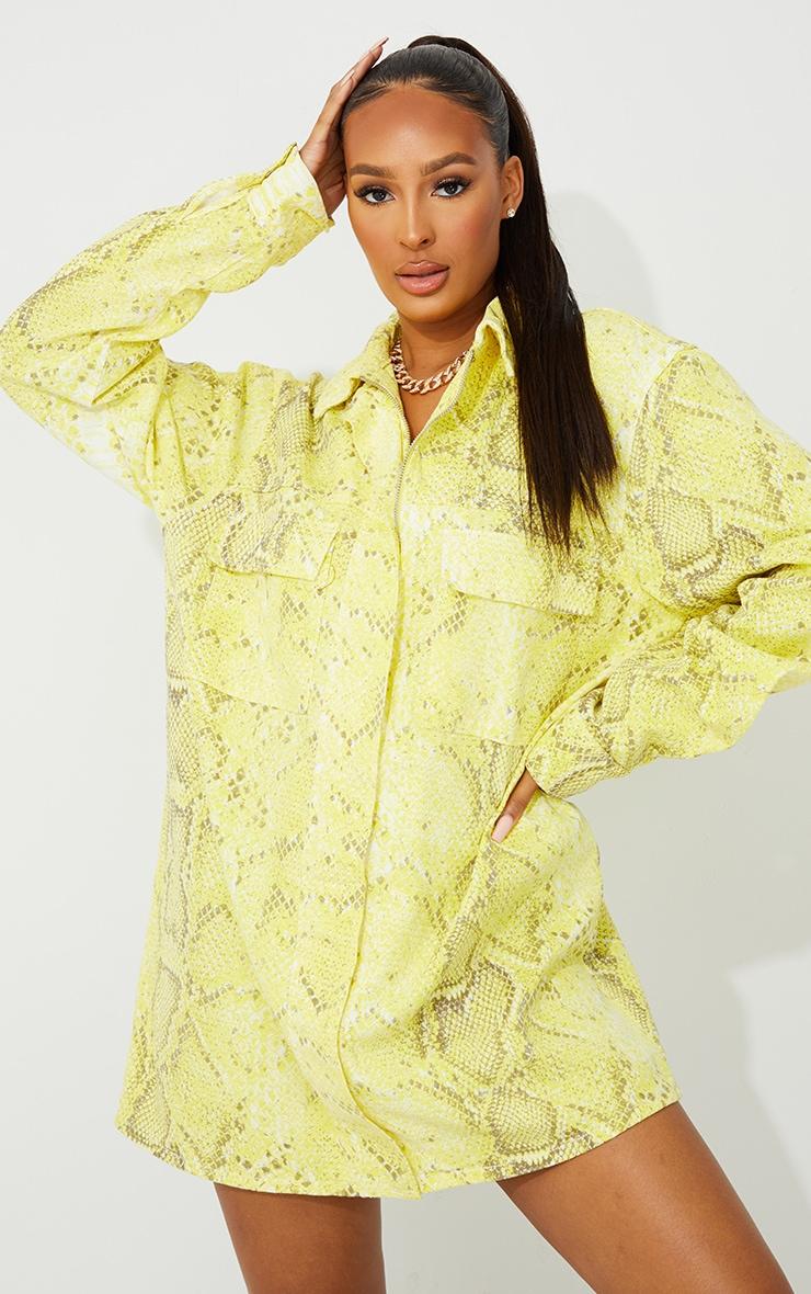 Yellow Snake Printed Denim Dress 3