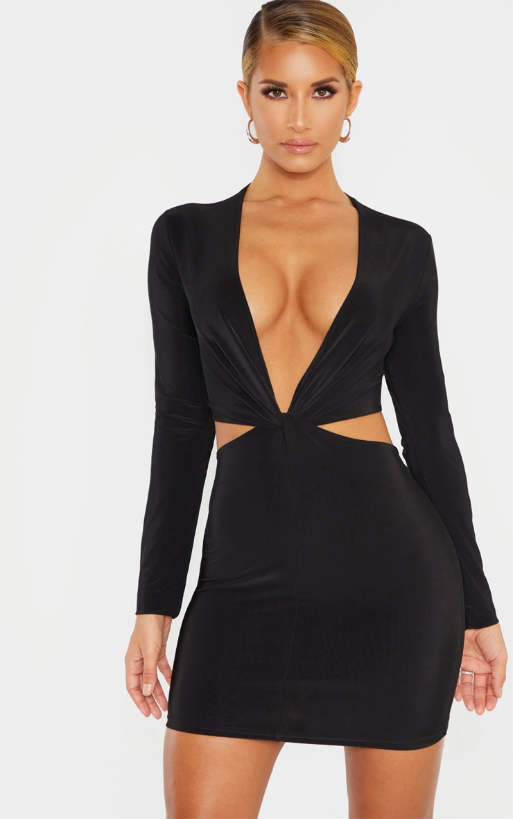 Black Slinky Knot Front Cut Out Bodycon Dress 1