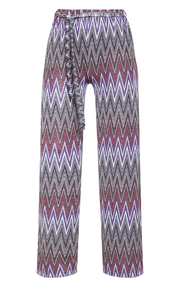 Multi Textured Glitter Tie Waist Crop Pant 3