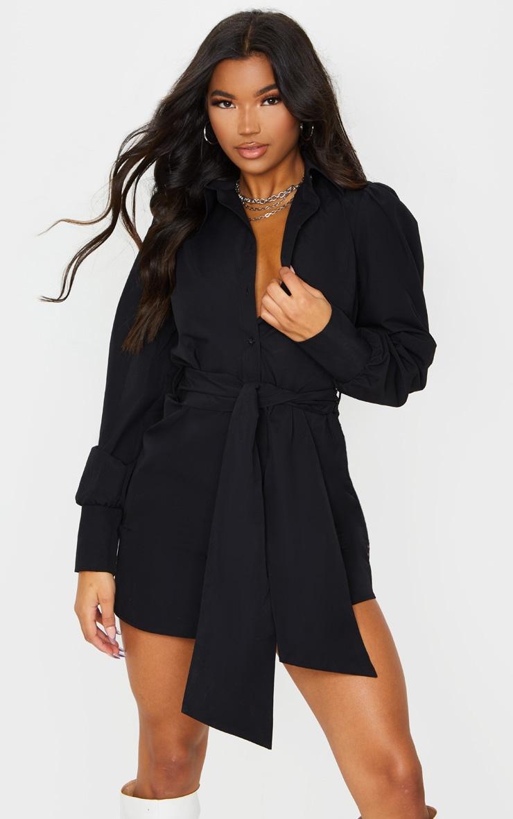 Black Puff Shoulder Long Sleeve Belt Detail Shirt Dress 1