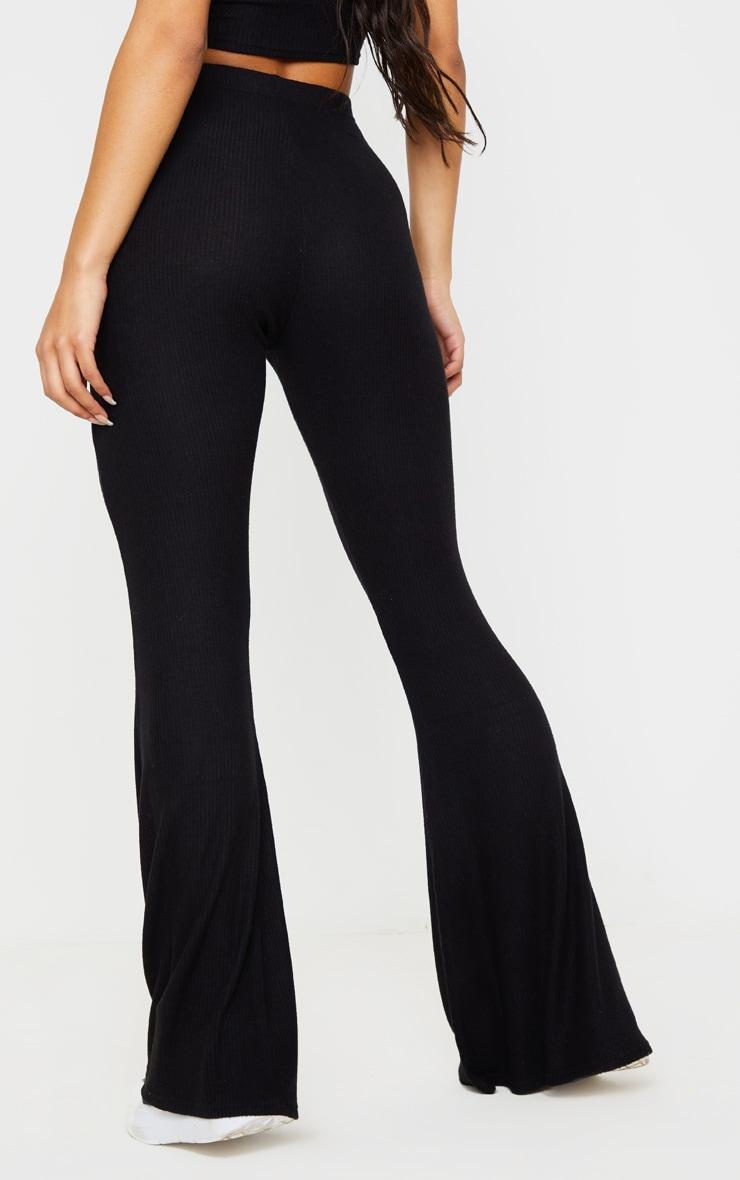 Black Brushed Rib High Waisted Flared Pants 4