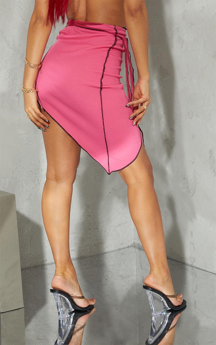 Hot Pink Contrast Stitch Asymmetric Midi Skirt 3