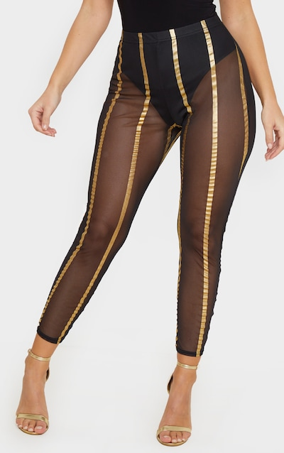 Gold Metallic Mesh Stripe Legging