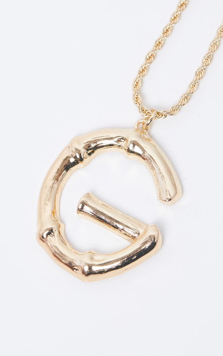 Gold G Bamboo Letter Necklace 4