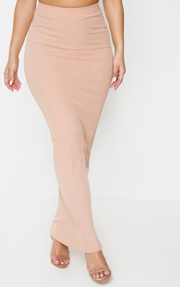 Camel Rib Panel Midaxi Skirt 2