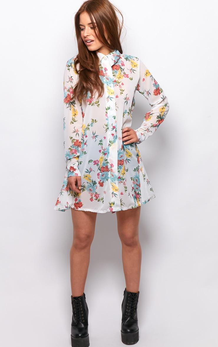 Violet White Floral Chiffon Shirt Dress  5