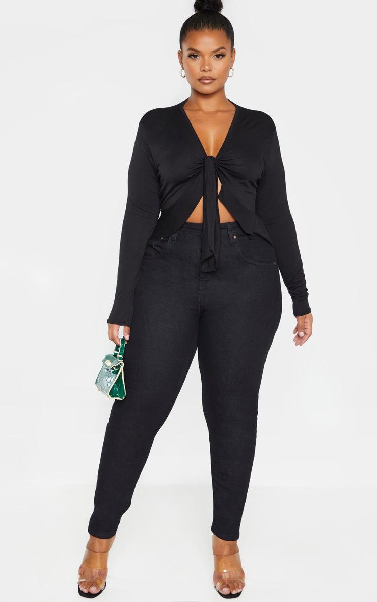 Plus Black Jersey Tie Detail Frill Hem Crop Top 4