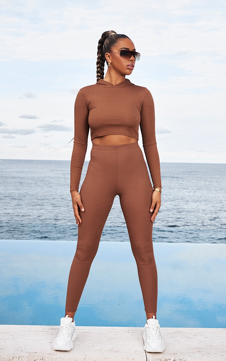 Chocolate Brown Rib High Waist Leggings 1