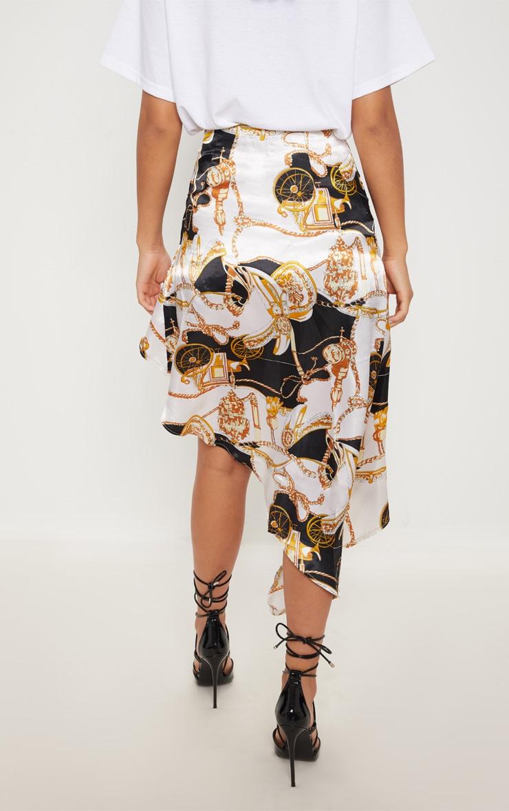 White Printed Satin Asymetric Skirt 4
