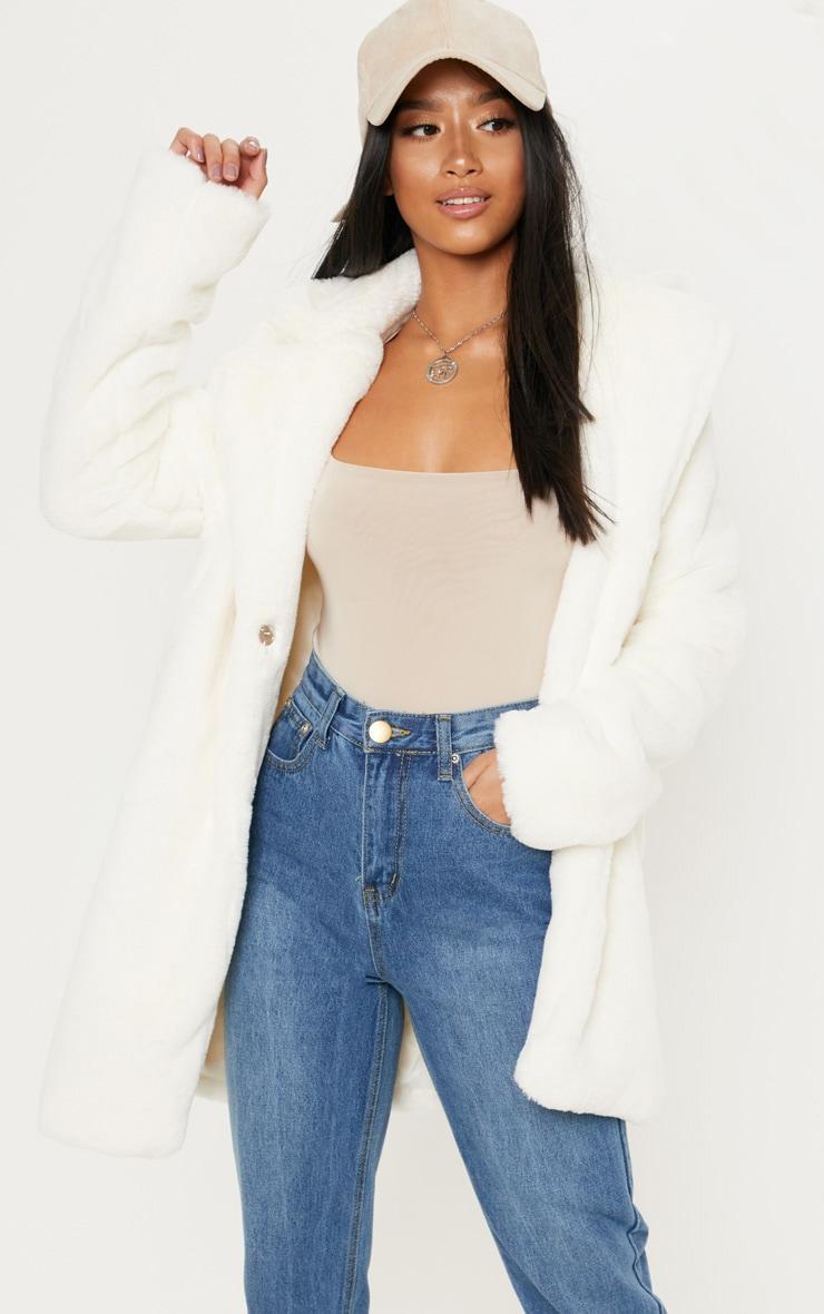 Petite Cream Faux Fur Coat 1
