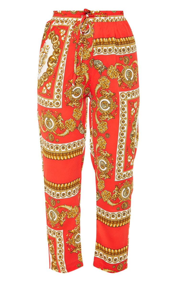 Red Scarf Print Cigarette Pants 3
