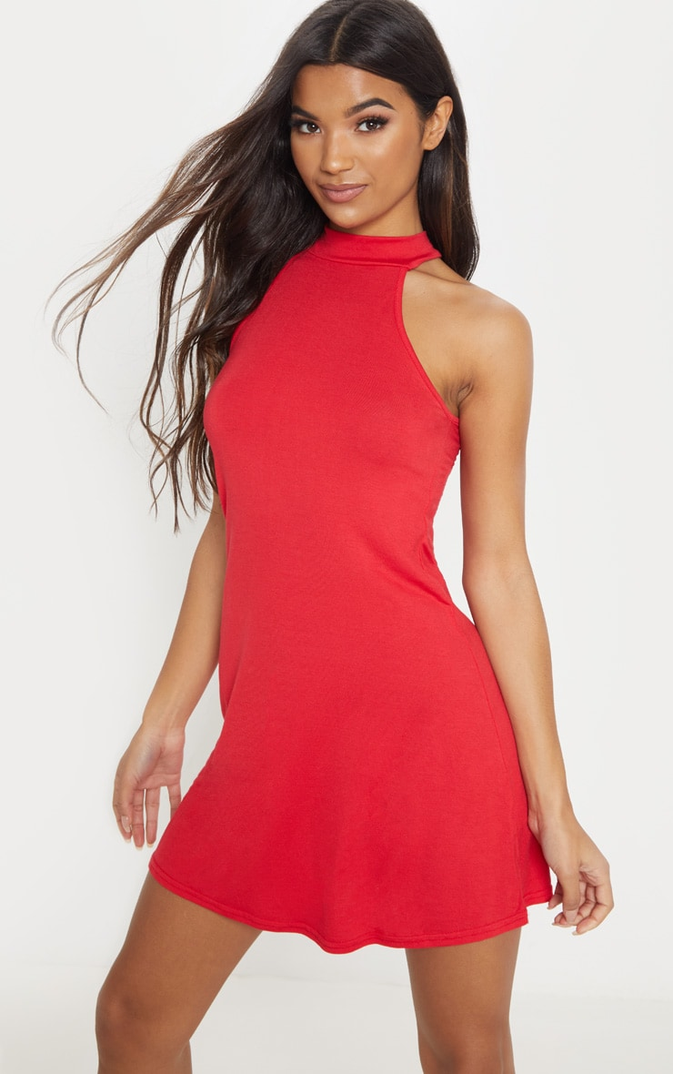 Red Jersey High Neck Swing Dress 1