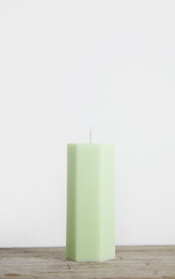 Lime Hexagon Pillar Scented Soy Wax Candle 11cm 4